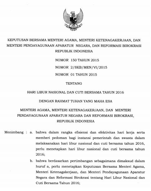 SKB 3 Menteri Tentang Hari Libur Nasional dan Cuti Bersama