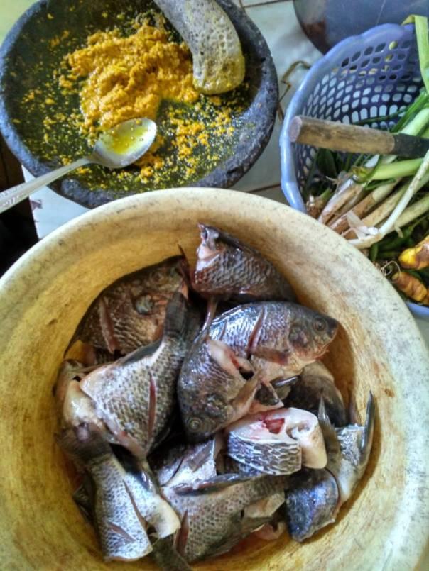 Ikan nila dan bumbu yanng sudah siap di goreng